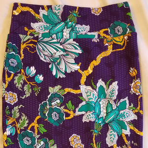 LulaRoe M Cassie Skirt Purple Green Gold Flowers